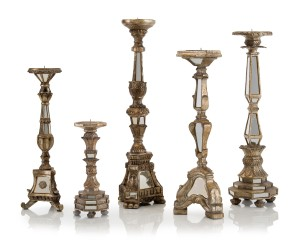 "24/22/20/19/12""H Set/5 Mirrored Candlesticks"