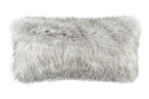 SILVER FUR LG. RECTANGLE PILLOW 14X30