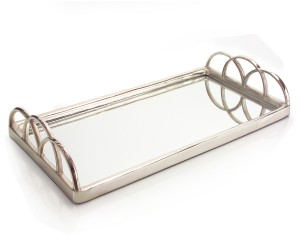 "5.5 x 30 x 15.5"" Lg Silver Mirrored Tray"