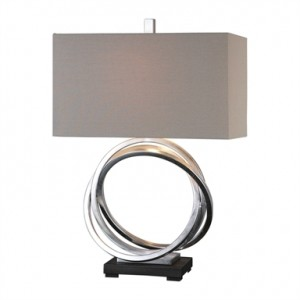 Soroca Silver-Leafed Ring Designer Table Lamp with Rectangular Beige Linen Shade