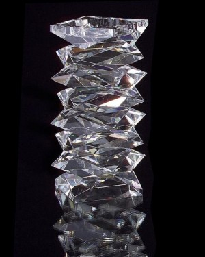 "10"" H Stacked Crystal Candleholder, Large"