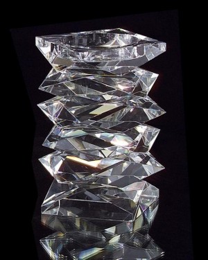 "8"" H Stacked Crystal Candleholder, Medium"