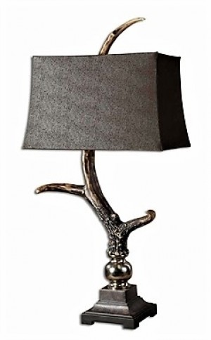 Designer Table Lamp with Stag Horn Body and Dark Shade