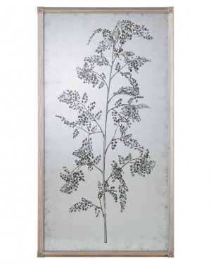 Tamarind Eglomise Mirror I, Hand-Painted Decorative Mirror w/Branch and Delicate Foliage
