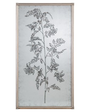 Tamarind Eglomise Mirror II, Hand-Painted Decorative Mirror w/Branch and Delicate Foliage