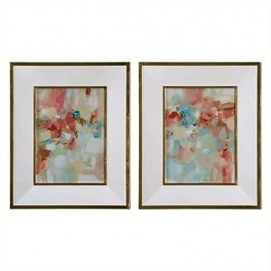 A Touch of Blush & Rosewood Fences Art, Set/2