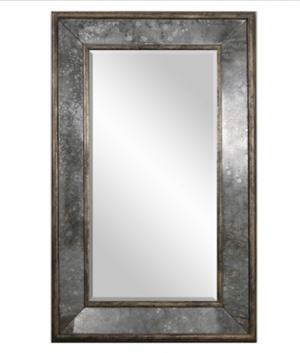Vltava Oversized Decorative Mirror with Antiqued Side Mirrors and Aged Black Frame