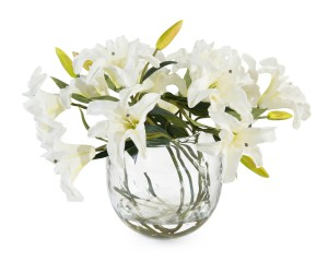 White Casablanca Lillies in Faux Water