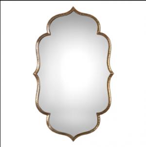 Zina Moroccan-inspired Decorative Mirror w/Hammered Antique Metallic Gold Border