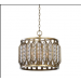 Jenson Antiqued Silver/Dk Bronze Four-Light Designer Lighting Pendant with Acrylic Ball Shade