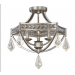 Tamworth Three-Light Large Chandelier w/Semi-Flush Mount in Silver/Champagne Leaf Finish and Crystal Accents